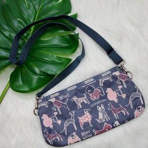 LeSportSac Bow Wow Dog Print Shoulder Bag EUC